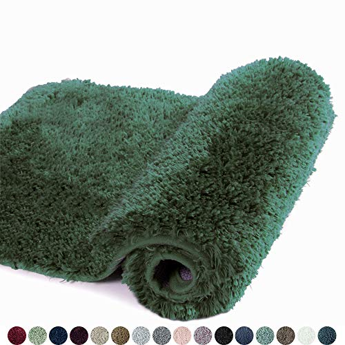 Walensee Bath Rug for Bathroom Non Slip Bathroom Mat (20 x 32, Hunter Green) Water Absorbent Soft Microfiber Shaggy Bathroom Rug Machine Washable Bath Mat for Bathroom Thick Plush Shower Mat