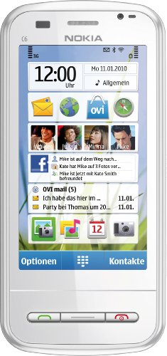 Nokia C6-00 Smartphone (8.1 cm (3.2 Zoll) Bildschirm, QWERTZ-Tastatur, Touchscreen, 5 Megapixel Kamera) weiß