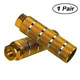 Helaryfreemear - Estribos para BMX de aleación de aluminio, antideslizantes (2 unidades), dorado, 2