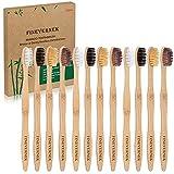 FINEVERNEK Kit de 12 Cepillos de Dientes de Bambú, Cepillos de Dientes de Bambú Natural y Ecolóico, 4 Colores Suaves Naturales de Cepillo de Diente de Bambú, para el Hogar y el Viaje