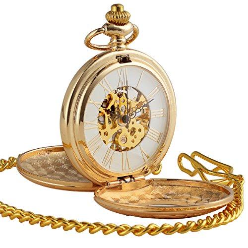 ManChDa® Antiguo Oro Reloj de Bolsillo Casos Grabados Esfera Esqueleto para los Hombres Mujeres con Cadena + Caja Regalo