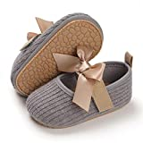FEAMODAL Baby Girl Mary Jane Dress Shoes Anti-Slip Rubber Sole Bowknot Flats Infant Toddler Walkers Sneaker Princess Dress Shoes(01 Grey, 0-6 Months)