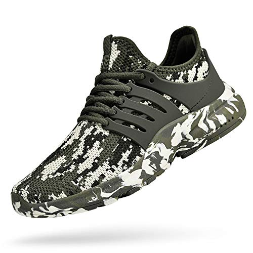 Feetmat Mens Running Tennis Work Shoes Slip On Resistant Sneakers Lightweight Breathable Athletic Fashion Zapatos Gym Sport Non Slip Casual Walking Shoes for Men Camouflage Green 9.5