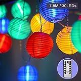 EKKONG Led Lichterkette,Verbesserte Version mit Fernbedienung und Timer, Lampion 30LEDs 7.8m Laterne Wasserdichte Gartenbeleuchtung, Batteriebetrieben (Bunt)