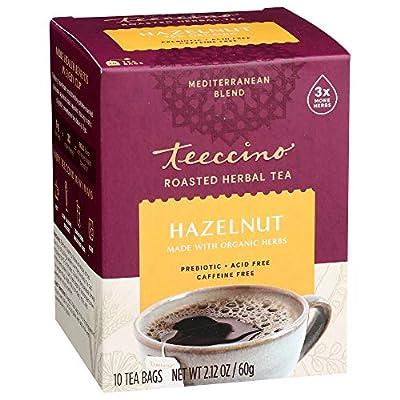 Teeccino Herbal Tea – Hazelnut – Rich & Roasted Herbal Tea That's Caffeine Free & Prebiotic for Natural Energy, 10 Tea Bags