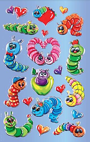AVERY Zweckform 53158 Kinder Sticker Raupen (3D Effekt) 20 Aufkleber