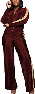 Aro Lora Women's Casual 2 Piece Outfit Zipper Jacket Suit Wide Leg Pant Set Sweatsuits