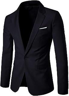 HX fashion Men's Suit Jackets One Jackets Button Suit Coat Blazer Comfortable Sizes Business Suit Jackets Wedding Suit Lig...