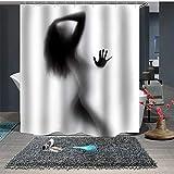 Chickwin Anti-Schimmel und Wasserdicht Duschvorhang für Badezimmer, 3D Mode Sexy Frau Drucken mit 12 Duschvorhangringe Waschbar Modernes Zuhause Duschvorhang (180x200cm,Badezimmer Silhouette)
