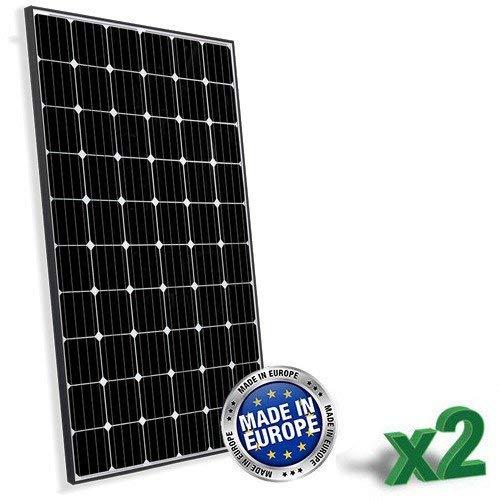 Set di 2 Pannelli Solari Fotovoltaici 315W totale 630W Monocristallino Europeo adatto per Impianti su Casa Baita Camper Caravan