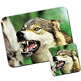 Lobo Lobos alfombrilla de ratón/Pad y posavasos Wolf Snarling In Forest