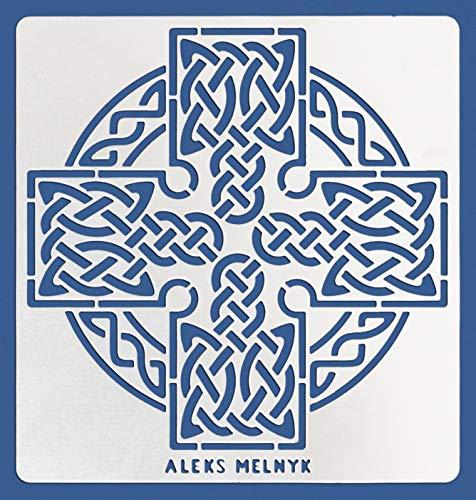 Aleks Melnyk #38.1 Metal Journal Stencil/Celtic Knot, Cross, Scandinavian, Viking Symbol/Stainless Steel Irish Stencils/Template Tool for Wood Burning, Pyrography and Engraving/Crafting/DIY