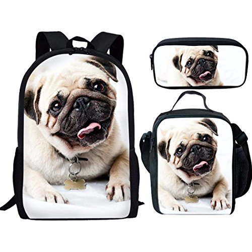 FUIBENG Lucky Dog Lunch Tote School Bag Pencil Case Pouch 3 Pieces for...