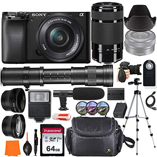 Sony Alpha a6100 Mirrorless Digital Camera with 16-50mm & 55-210mm Lens + 420-800mm Telephoto Lens + Wide-Angle & Telephoto Conversion Lens, 64GB Memory Card, Microphone, Digital Flash & More…