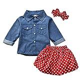 Toddler Baby Girl Denim Shirt Polka Dot Skirt Outfits Spring Winter Clothes Set (Polka Dot, 12 Months)