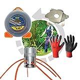 Opengardenweb - Juego de cabezal de desbrozadora universal, multihilo de aluminio Gladiator + hilo bi-material profesional cuadro 3,5 mm Magic Line+ disco antienrollamiento + guantes de regalo