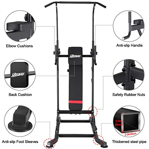 UBOWAY Power Tower with Bench: Pull Up Bar Stand Dip Station Adjustable Height Heavy Duty Multi-Function Fitness Training Equipment Home Gym