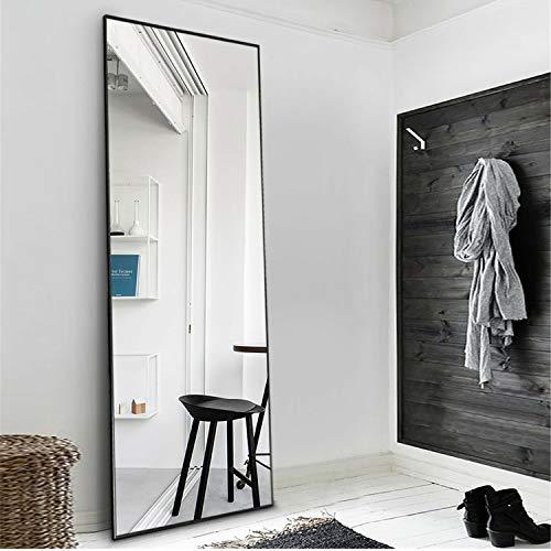 "MIRUO Full Length Mirror Floor Mirror Large Wall Mounted Mirror Bedroom Mirror Dressing Mirror Aluminum Alloy Thin Frame, Black, 65"" x 22"" (AMZVDJJ00371AAFN)"