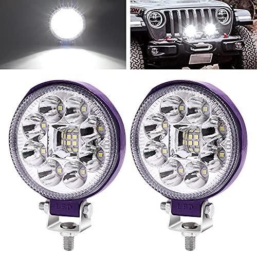 YnGia 2 luces LED cuadradas de trabajo de conducción, 12V 24V, 3 pulgadas, focos de motocicleta, luces de trabajo auxiliares para 4x4, ATV, UTV, SUV, barco, camión, camión