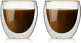 Lot de 2 Tasses à Café Expresso, Tasse à double paroi ,Tasse à Café Transparente à Double Isolation, Adaptée Au Thé Chaud,...