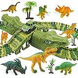 MOOKLIN ROAM 153pcs Pistas Circuito de Dinosaurio, Coches Juguete Piezas de la Pista Flexible, Puzzles Carril de Tren Pistas Slot con Bolsa de Regalo para Niños 3 4 5 6 Años