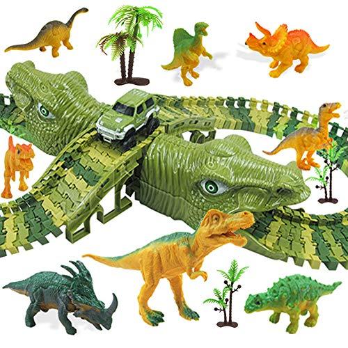 MOOKLIN ROAM Piste da Corsa Dinosauro, 153pcs Set Piste da Circuito, Auto Giocattolo Pista Flessibile Blocchi Traccia con Borsa Regalo per Bambini Regalo Ragazza Ragazzo