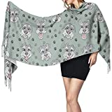 Invierno largo Bufandas cálidas suaves Scottish Terrier Perros Envolturas para mujeres Lana artificial Spinning Tassel Shawl Long Stole