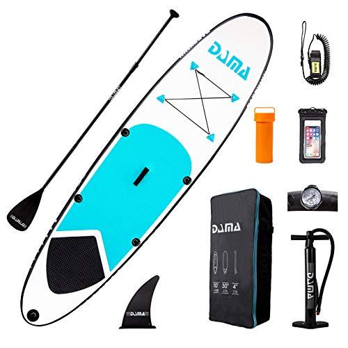 DAMA 10' Aufblasbares SUP für alle Schwierigkeitsgrade Stand Up Paddle Board, verstellbares schwimmendes Paddel, einfachwirkende Pumpe, Surfbrett, Leine, aufblasbare Jugendpaddelbretter Blau