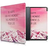 kwmobile Hülle kompatibel mit Amazon Kindle Oasis 9. Generation - Kunstleder eReader Schutzhülle Cover Case - Be Happy Rosa Violett Koralle
