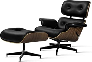 Artiss Armchair Lounge Chair and Ottoman, Recliner Armchair Leather Plywood, Black