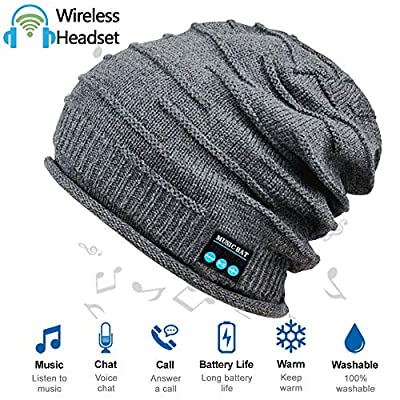 Upgraded Wireless Bluetooth Beanie Hat with Headphones V4.2, Unique Christmas Tech Gifts for Teen Boys/Girls/Boyfriend/Him/Husband/Men/Dad/Women/Stocking Stuffers/Built-in HD Stereo Speakers & Mic by HighTechLife