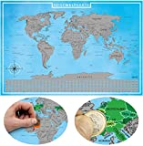 blupalu Weltkarte World Map Poster zum Rubbeln - Groß (Xxl) - Rubbelkarte Landkarte Deutsch 89 x 52 cm Bilder Leinwand