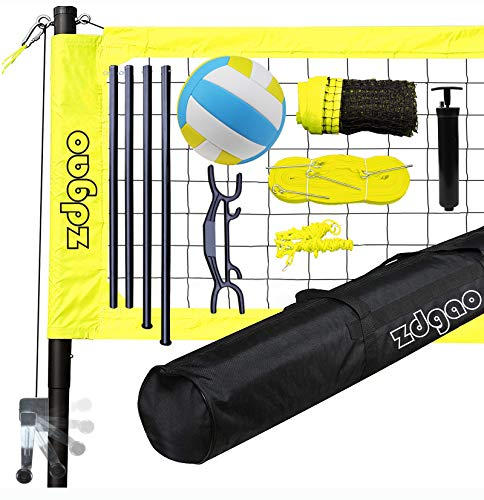 Volleyball Net Outdoor - Professional Volleyball Net System with Aluminum Poles, Boundary Line, Volleyball Ball Anti-Sag Winch System and Carry Bag, Portable Volleyball Sets for Backyard, Lawn