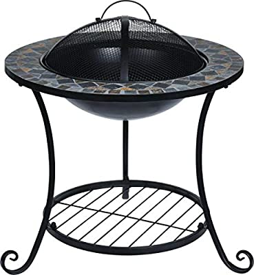 Rammento Steel Outdoor Fire Pit Bowl Round Patio Fire LARGE Outdoor Fire Pit 58cm Mosaic from Rammento