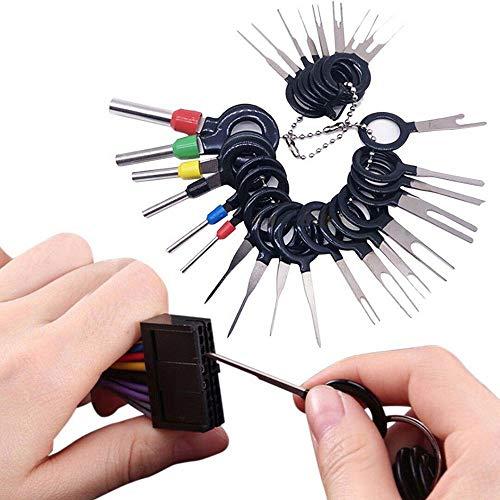 kfz kabel stecker ausbau werkzeug,terminal ejector kit,18/21/26/36/41/59 pcs Terminal-Werkzeuge,nadelentferner spritzen,für Flach- und Rundsteckkontakte Stück (59PCS)