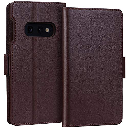 "FYY Samsung Galaxy S10e 5.8"" Luxury [Cowhide Genuine Leather][RFID Blocking] Handcrafted Wallet Case, Handmade Flip Folio Case with [Kickstand Function] and [Card Slots] for Galaxy S10e (5.8"") Brown"