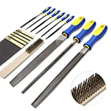 KALIM Hand File Set, 16Pcs File Kits Made of High Carbon-Steel, Including 5 Sandpaper and 1 Metal Brush as Complimentary, Ideal Wooden Hand Tool for Wood, Metal, Model and DIY, etc.