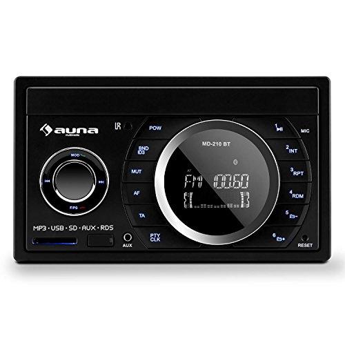auna MD-210-BT - Autoradio, Car-Radio, Car-HiFi-Set, Bluetooth, USB-Slot, SD/MMC-Slot, UKW-Radiotuner, MP3, 3,5mm-Klinke-AUX-Eingang, 2 x Stereo-Cinch-Line-Ausgang, schwarz