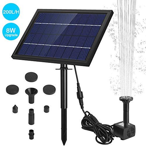 Ankway Solar Springbrunnen mit Panel, Wasserpumpe für Vogelbäder, 8W Solarpanel Kit Outdoor Springbrunnen für Teiche, Gärten und Aquarien