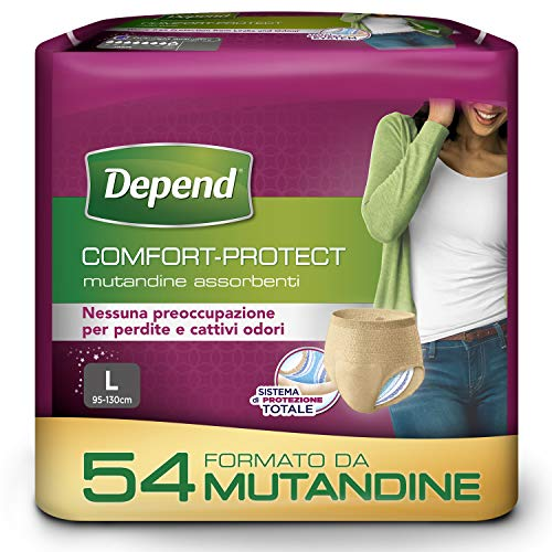 Depend Comfort-Protect Mutandine Assorbenti Donna, Taglia L, 54 Mutandine
