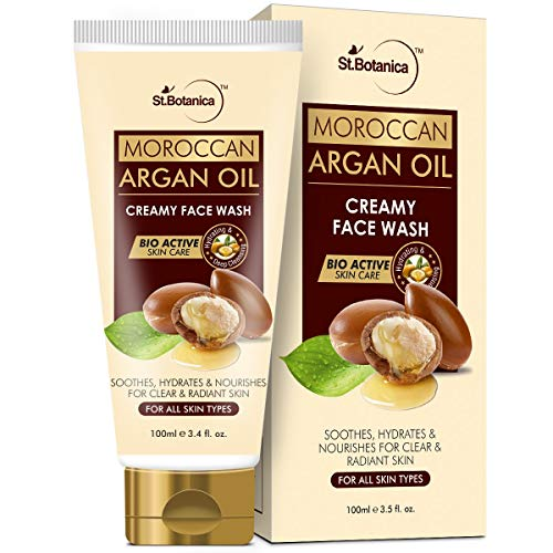 StBotanica Moroccan Argan Oil Creamy Face Wash – Soothes, Hydrates, Nourishes For Clear & Radiant Skin – No Parabens, Sulphate, Silicones, 100 ml (STBOT554)