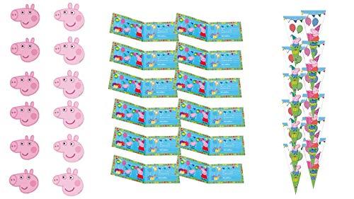 Peppa Pig 0483, Pack Invitados Fiestas y Cumpleaños, 12 caretas, 12 Conos...