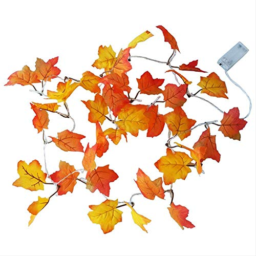 Funciona Con Pilas Maple Leaf Led String Lights Otoño Escalera Barandilla Decoración Plantas Luces De Valla 2M 20Leds Blanco Cálido
