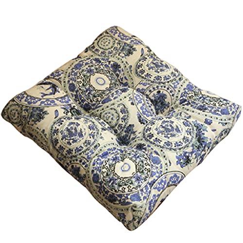 JIUYECAO Cojín para silla de oficina con correas, color azul y blanco...