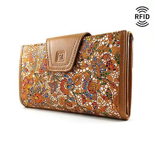 Geldbörse Damen, RFID, Handmade Spanien, Portemonnaie Damen, Casanova, Gemacht Aus Haut, Ref. 27818 Senf