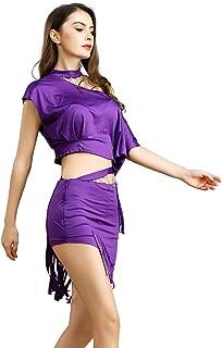 ROYAL SMEELA Tops de Falda de Danza del Vientre para Mujeres Traje de Danza del Vientre Color sólido Faldas de Borla Moldeada asimétrica Fuera de los Hombros Ropa de Baile