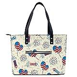 Bolso de mano con patrón de bandera americana, ligero para ir de compras, gimnasio, senderismo, viajes, yoga, bolsa de hombro con bolsillos exteriores con cremallera