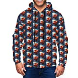 Men Zipper Hoodies Printed Sweatshirt Long Sleeve Coat with Pockets Cherry Tomatoes On Blue