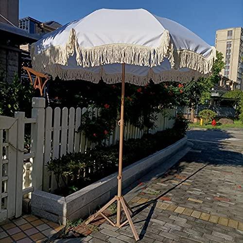 CYY Sombrilla de Jardín con Borlas Redondo,Sombrilla de Playa con Protección UV de 2.0m con Inclinación Manual,para Patio Balcón Piscina Exterior(Blanco)
