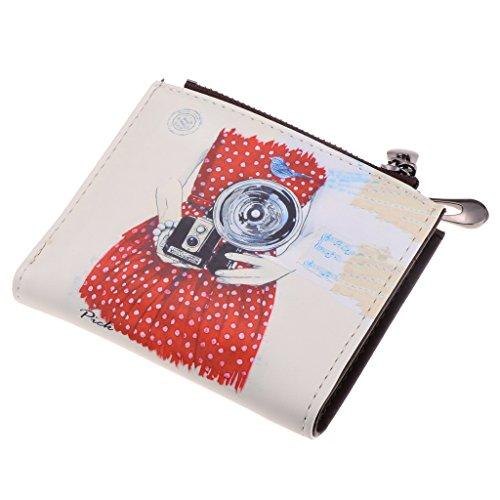 MagiDeal Portefeuille Femme Mini Pochette Carte Identité Bifold Poche Dessin Animé Motif - Color #1 (Caméra), 11,8 x 10,5 x 3,5 cm